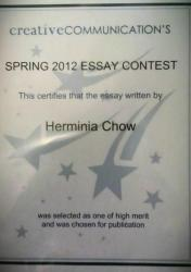 The Creative Communication Essay contest award.