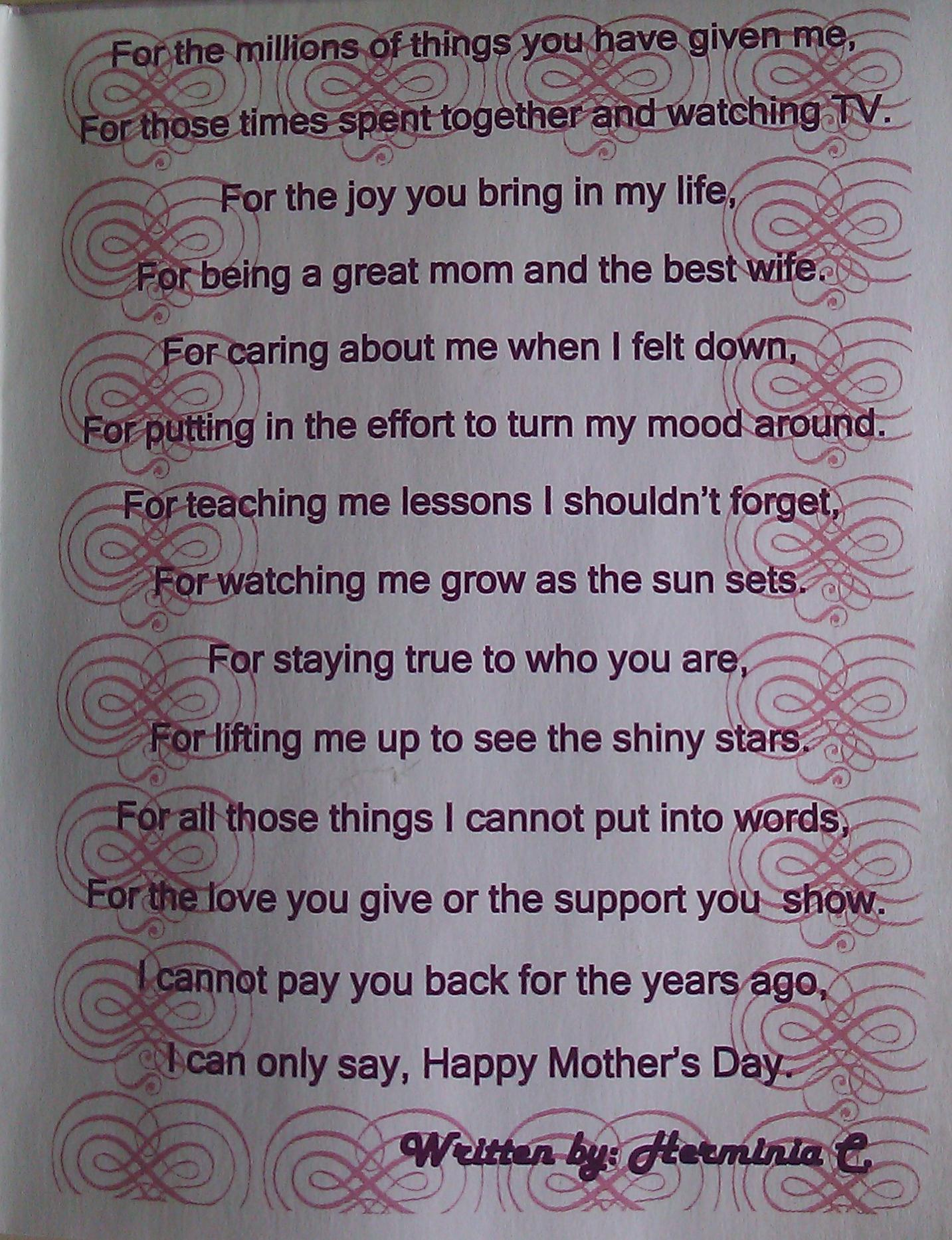 Dear Mom Poem An original poem written