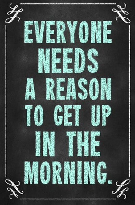 Everyone needs a reason to get up in the morning.