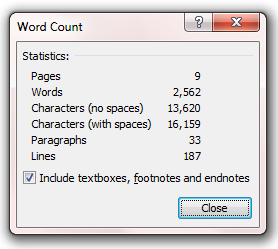 Word Count Of Research Paper
