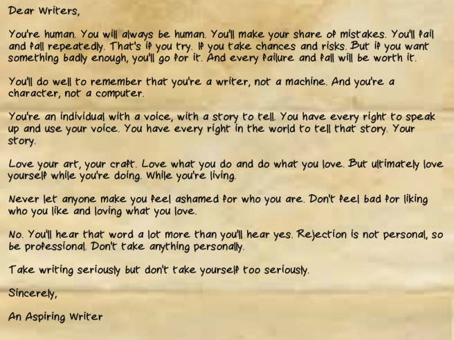 An Open Letter To Writers